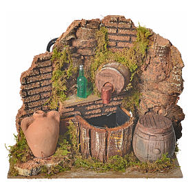 Nativity setting, tavern with pump and bottle 15x12x12cm s1