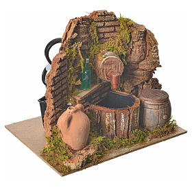 Nativity setting, tavern with pump and bottle 15x12x12cm s3