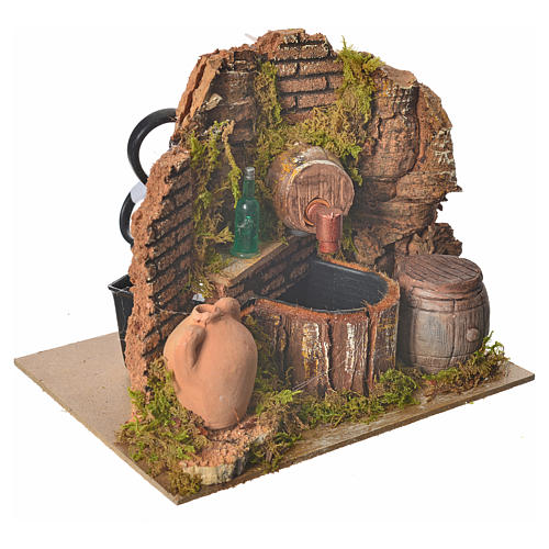 Nativity setting, tavern with pump and bottle 15x12x12cm 3