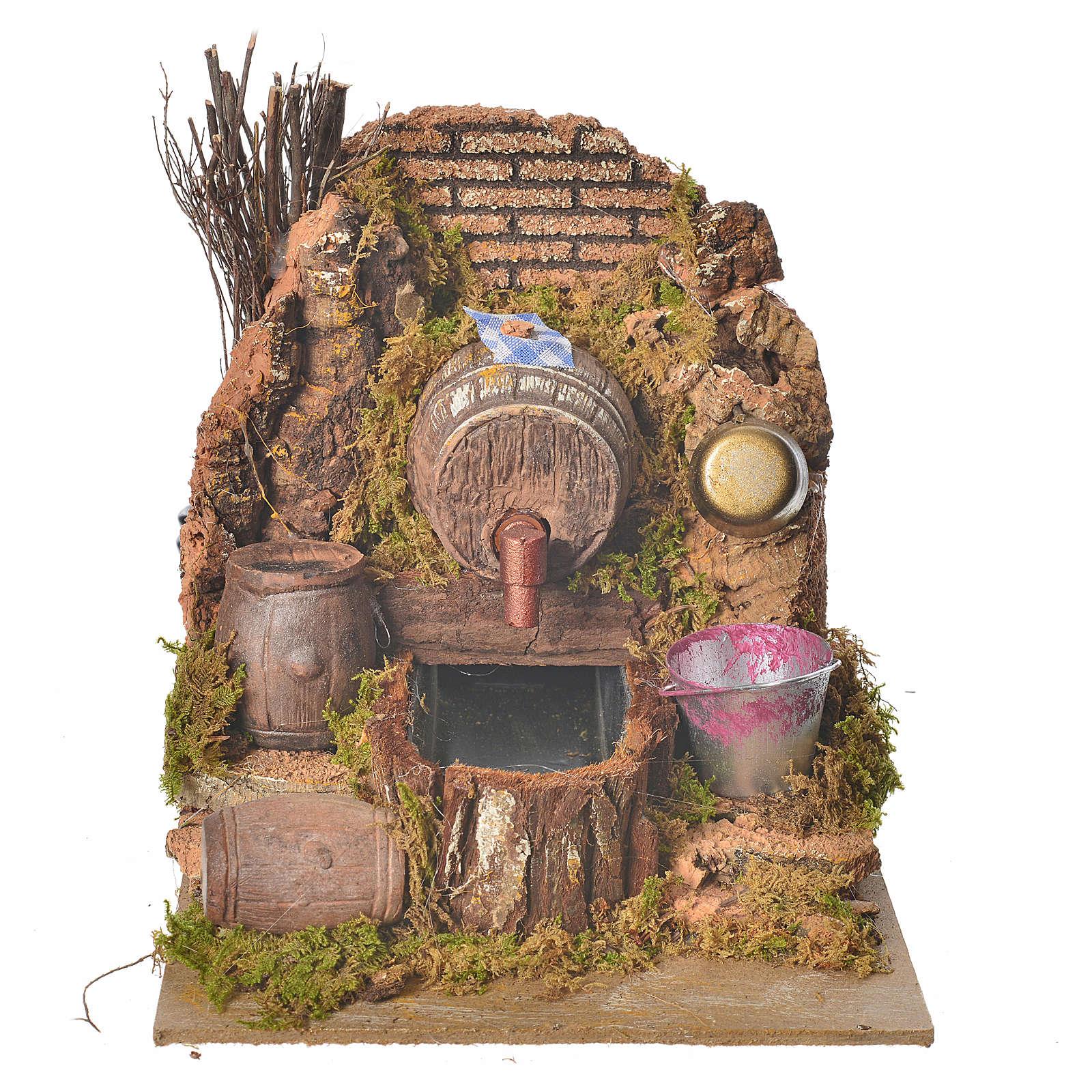 Nativity setting, tavern with pump 20x14x16cm 4