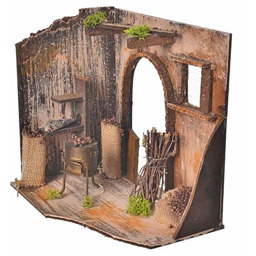 Nativity setting, chestnut seller shop 20x14x20cm 2