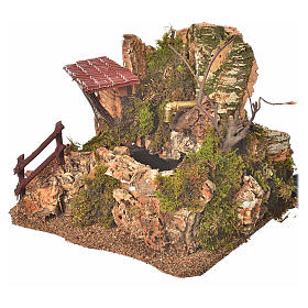 Nativity fountain in the rocks with house, setting s2