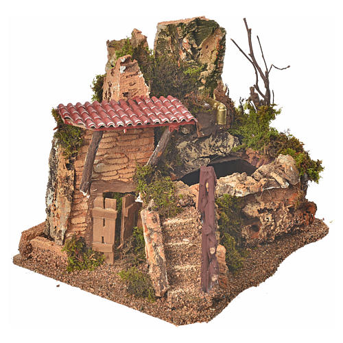 Nativity fountain in the rocks with house, setting 3