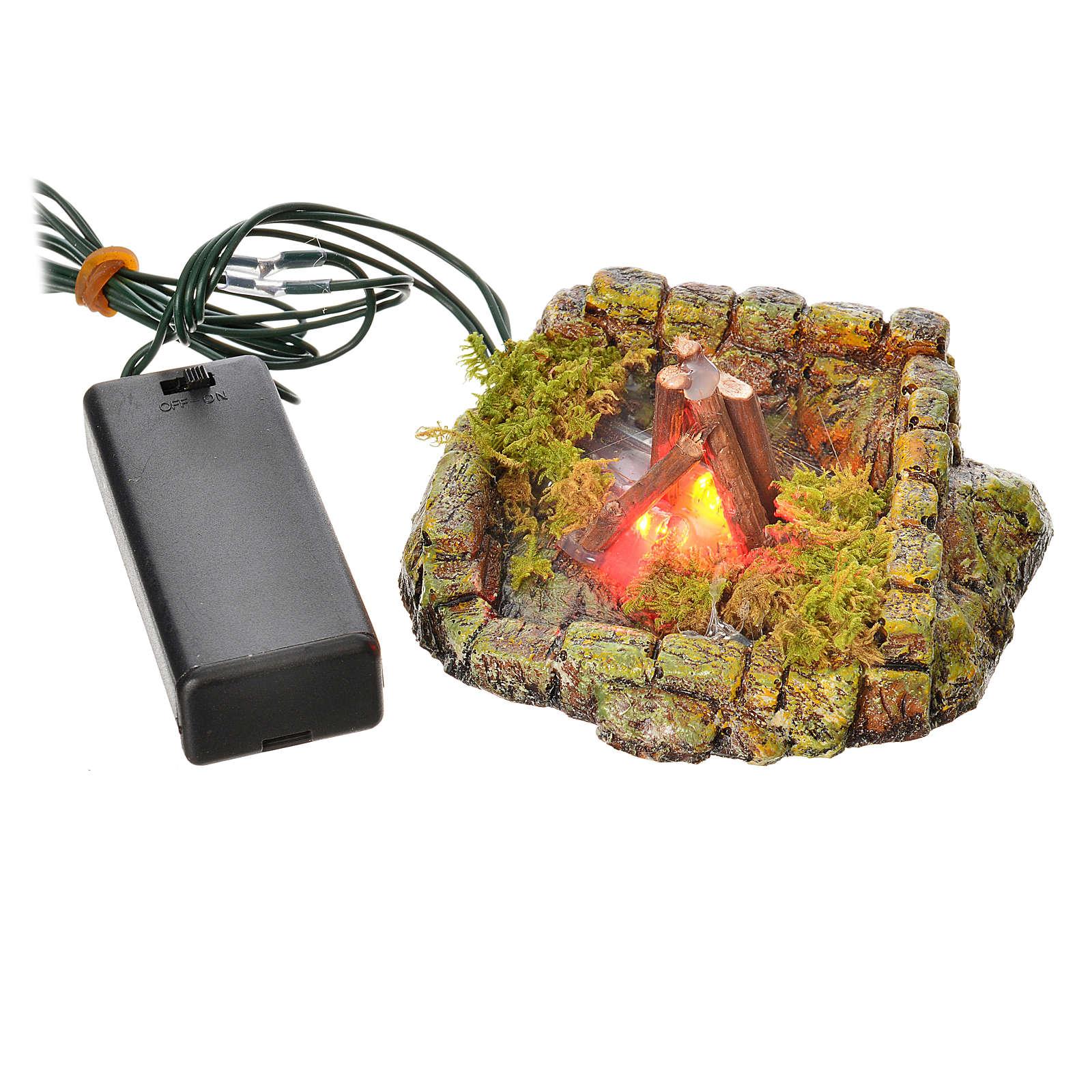 Nativity setting, LED light fire in resin 4