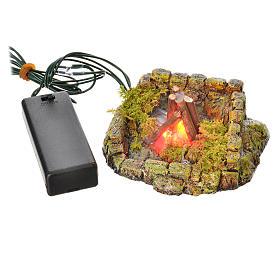 Nativity setting, LED light fire in resin s4