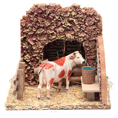 Nativity setting, cow in the stable 1