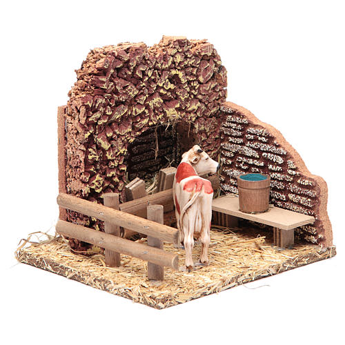 Nativity setting, cow in the stable 2