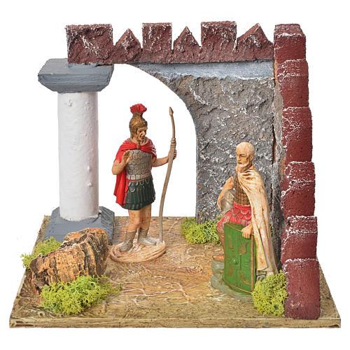 Gardes romaines et colonne décor crèche 1