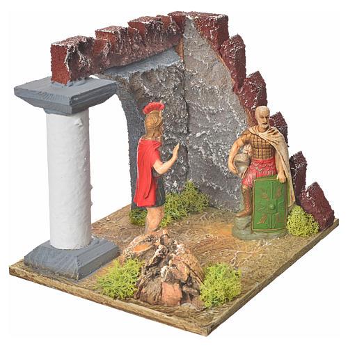 Guardie romane e muro castello, ambiente presepe 3