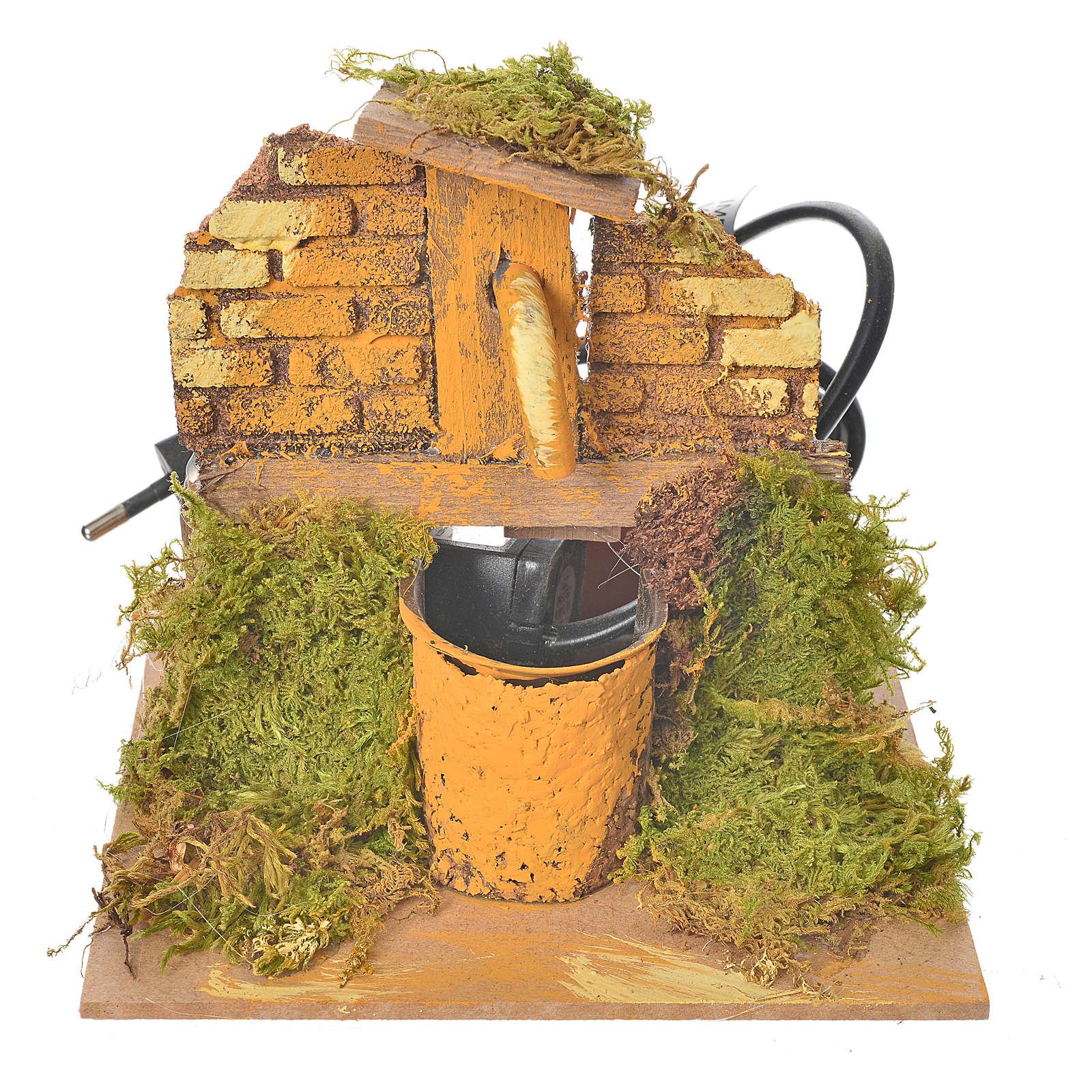 Fontana per presepe in legno e sughero dim. 13x13x13 cm 4