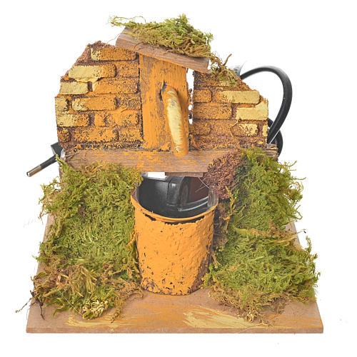 Fontana per presepe in legno e sughero dim. 13x13x13 cm 1