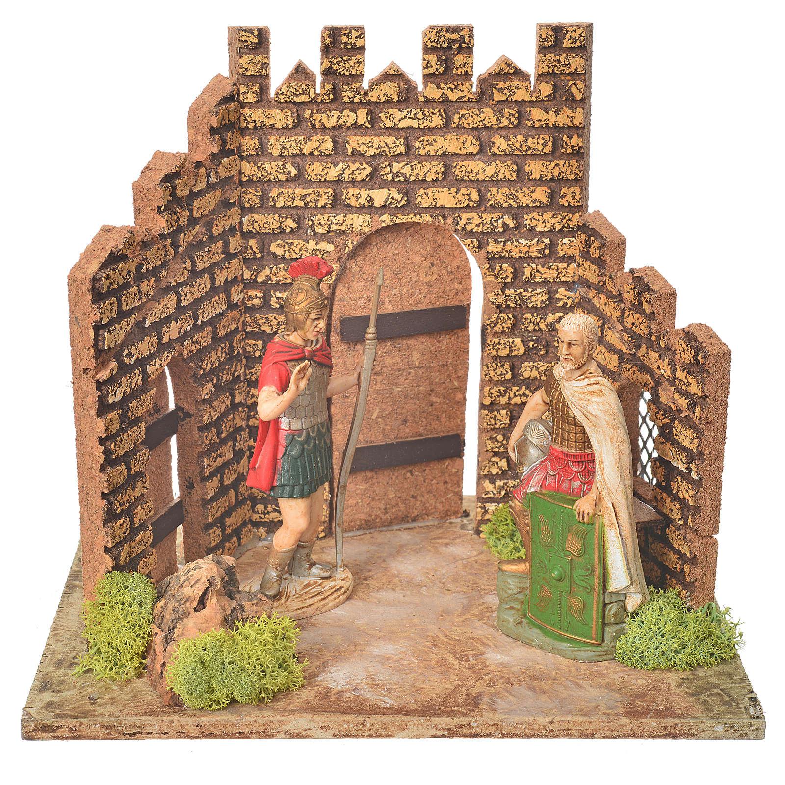 Guardie romane e porta del castello, ambientazione presepe 4