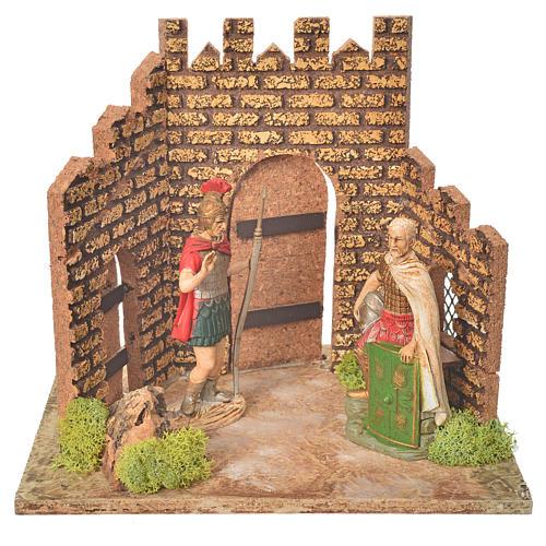 Guardie romane e porta del castello, ambientazione presepe 1