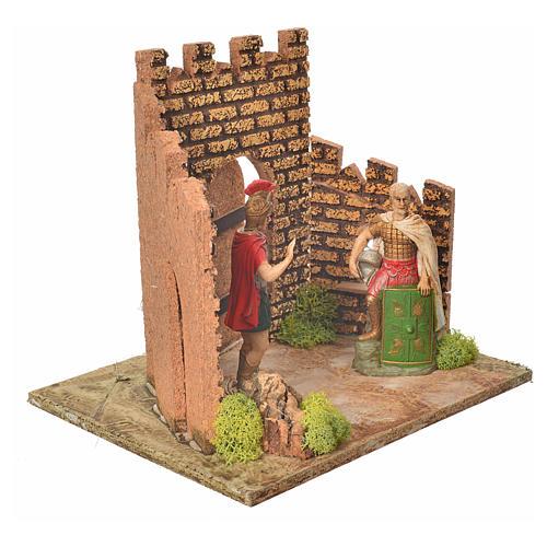 Guardie romane e porta del castello, ambientazione presepe 3