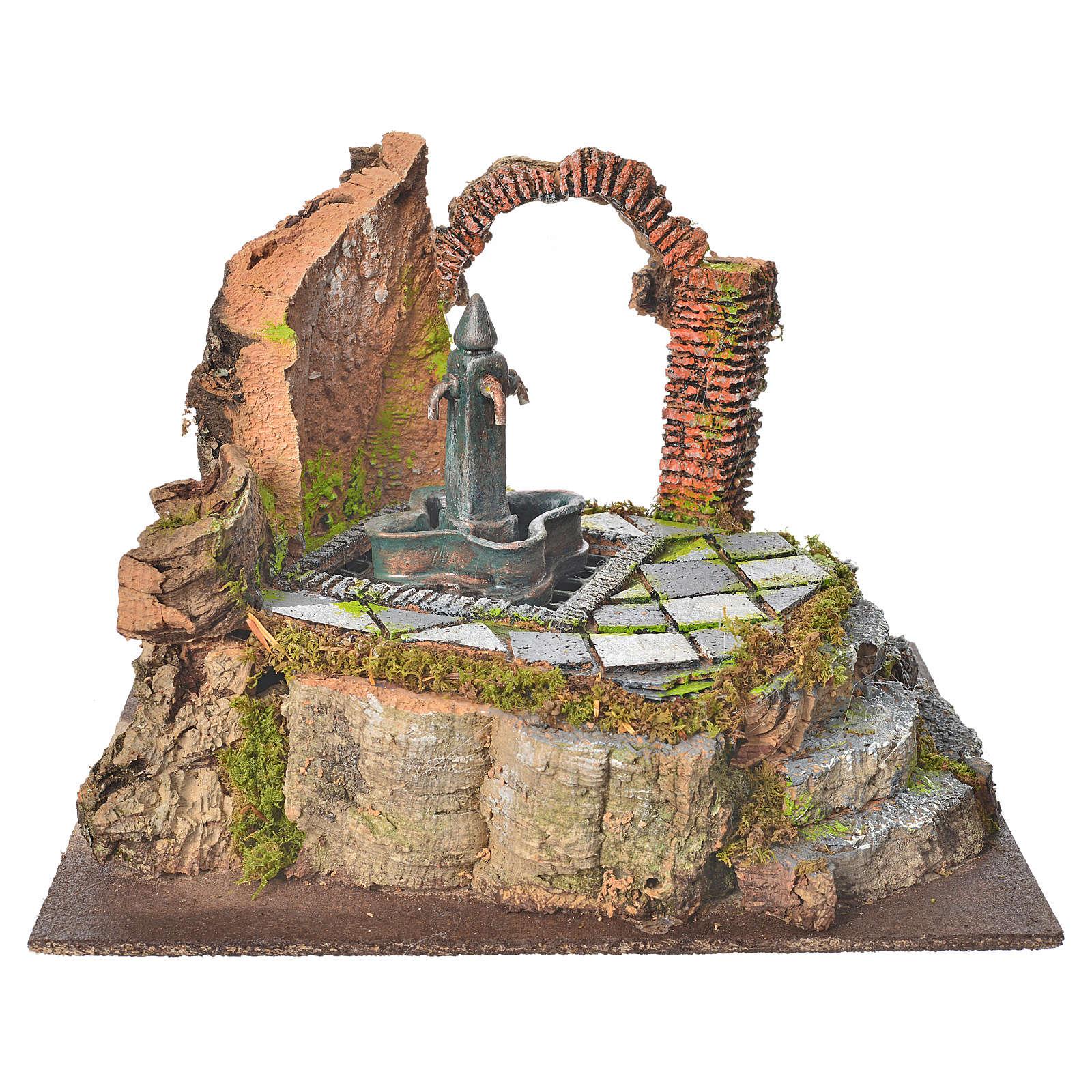 Fontana di piazza con 4 getti per presepe 4