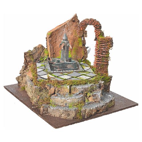 Fontana di piazza con 4 getti per presepe 2