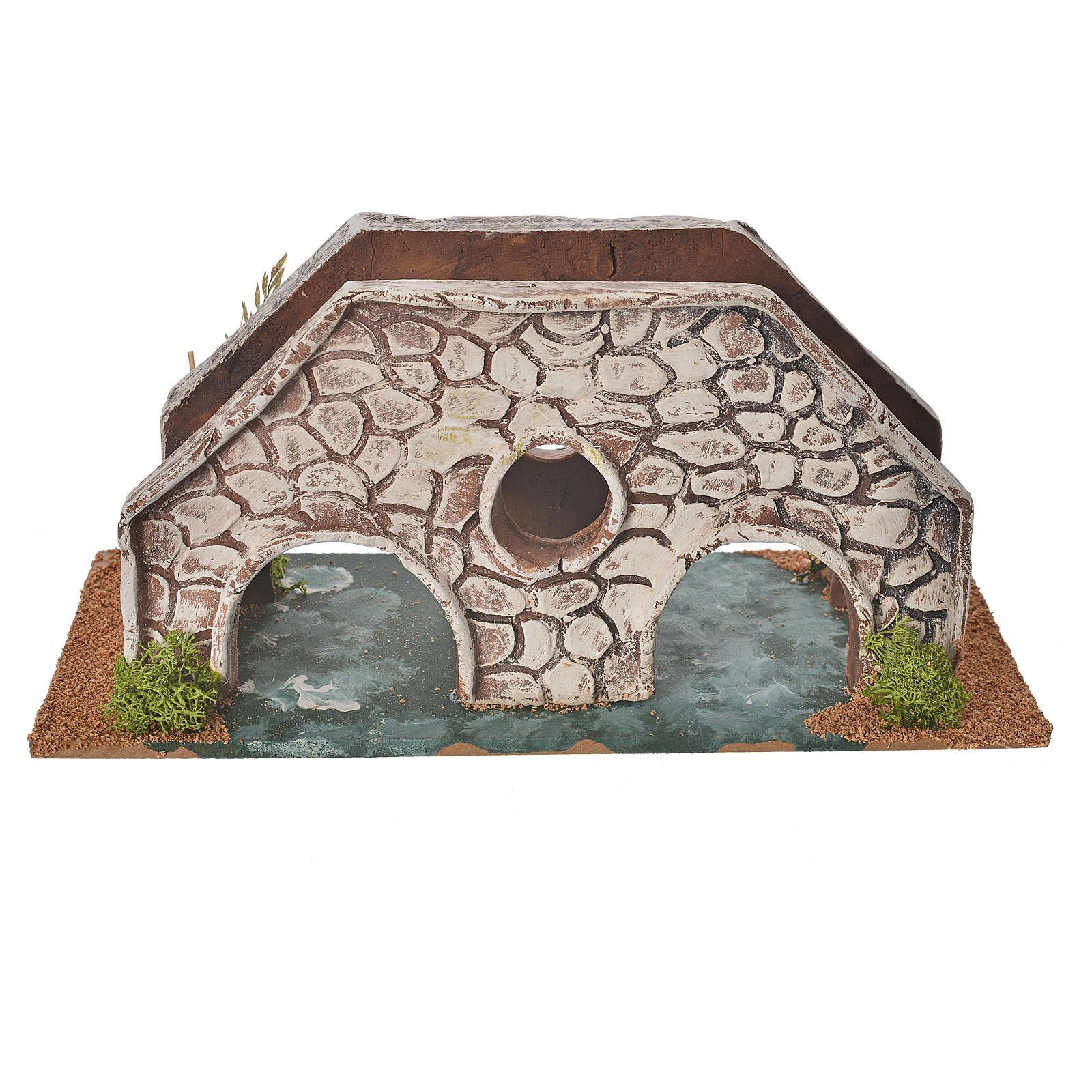 Nativity setting, bridge in terracotta 23x10x10cm 4