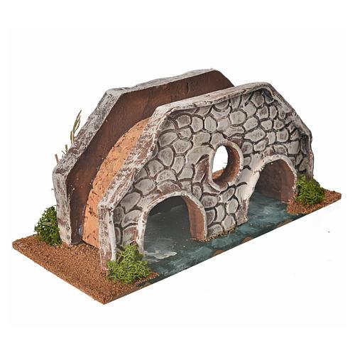 Nativity setting, bridge in terracotta 23x10x10cm 3