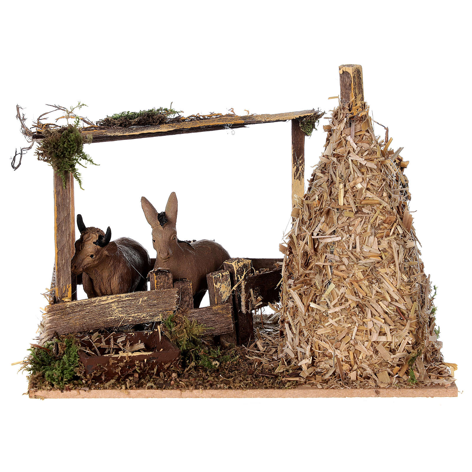 Nativity setting, fence with donkey and straw stack 11x15x10cm 4