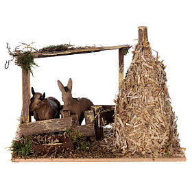 Nativity setting, fence with donkey and straw stack 11x15x10cm s1
