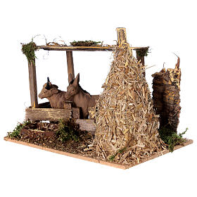 Nativity setting, fence with donkey and straw stack 11x15x10cm s2