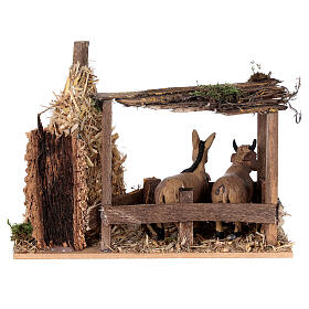 Nativity setting, fence with donkey and straw stack 11x15x10cm s4
