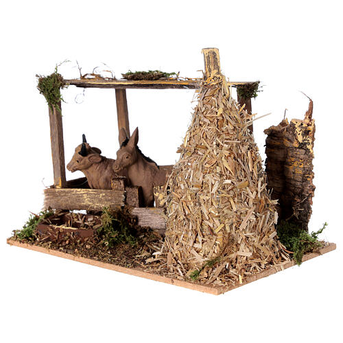 Nativity setting, fence with donkey and straw stack 11x15x10cm 2