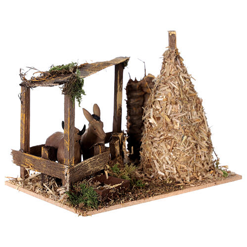 Nativity setting, fence with donkey and straw stack 11x15x10cm 3