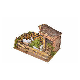 Nativity setting, fence with sheep 11x15x10cm s3