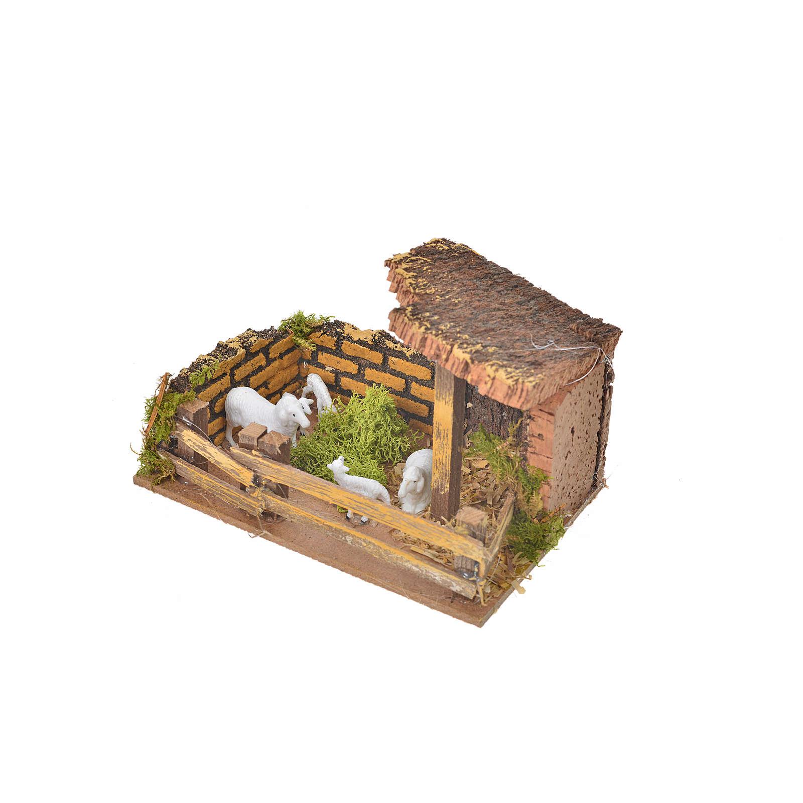 Curral com ovelhas para presépio 11x15x10 cm 4
