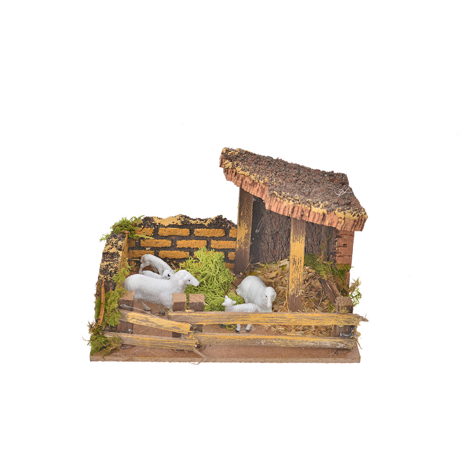 Nativity setting, fence with sheep 11x15x10cm 4