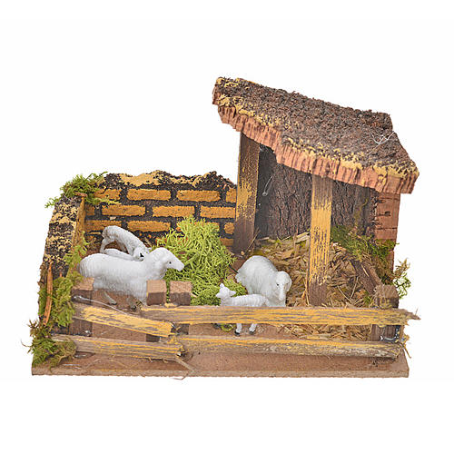 Nativity setting, fence with sheep 11x15x10cm 1