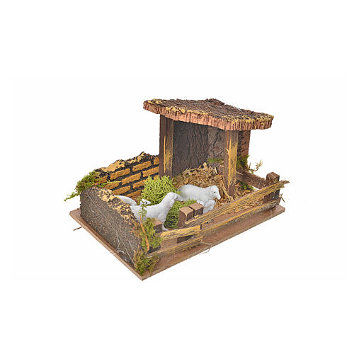 Nativity setting, fence with sheep 11x15x10cm 2