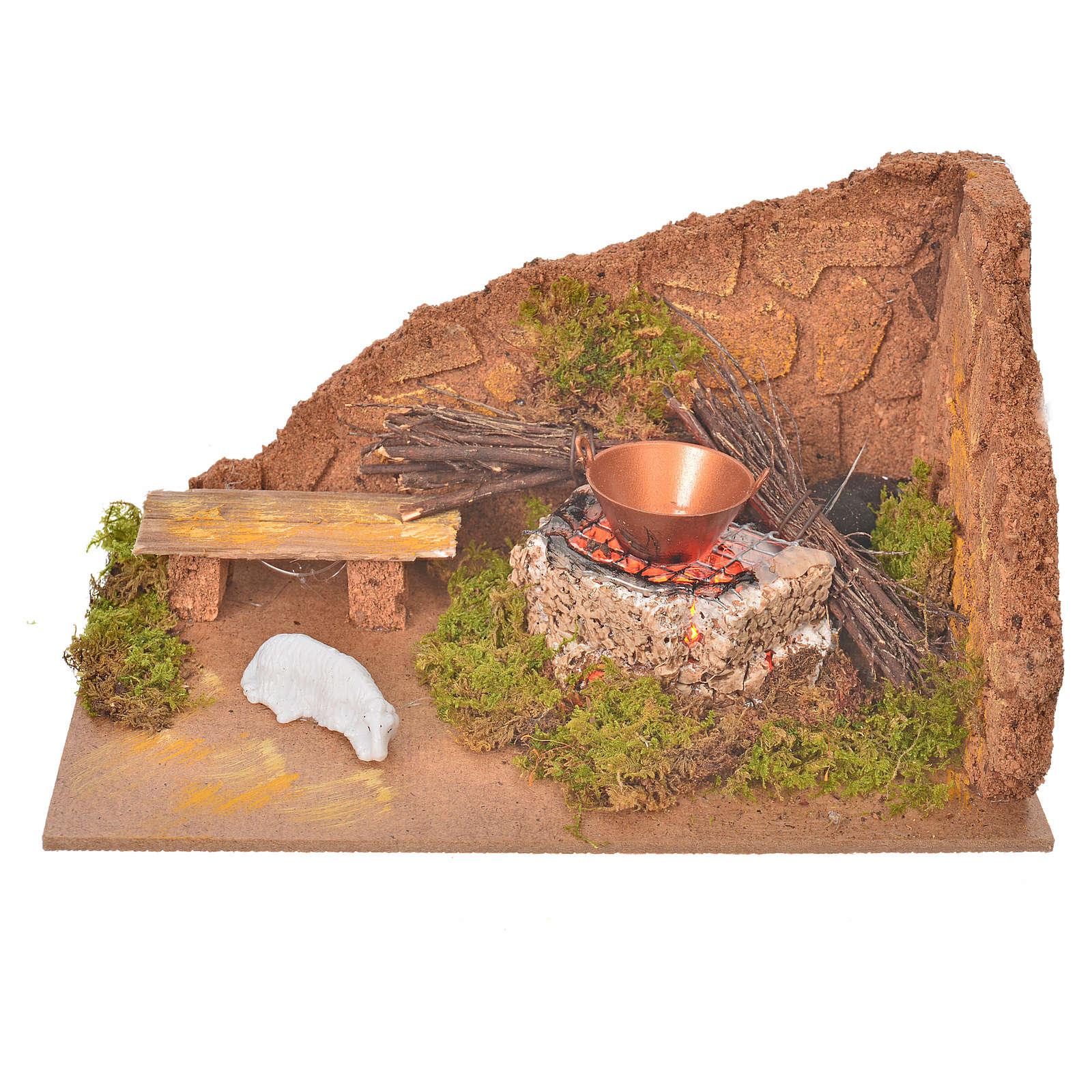 Coin avec feu et mouton pour crèche 10x20x12cm 4