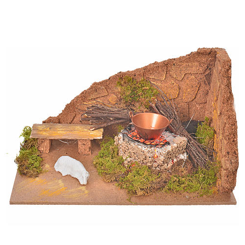 Coin avec feu et mouton pour crèche 10x20x12cm 1