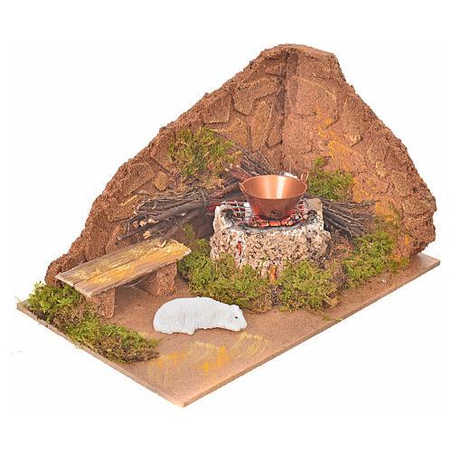Coin avec feu et mouton pour crèche 10x20x12cm 2