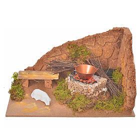 Fornos e Fogueiras para o Presépio: Cenário com fogo efeito chama e ovelha 10x20x12 cm