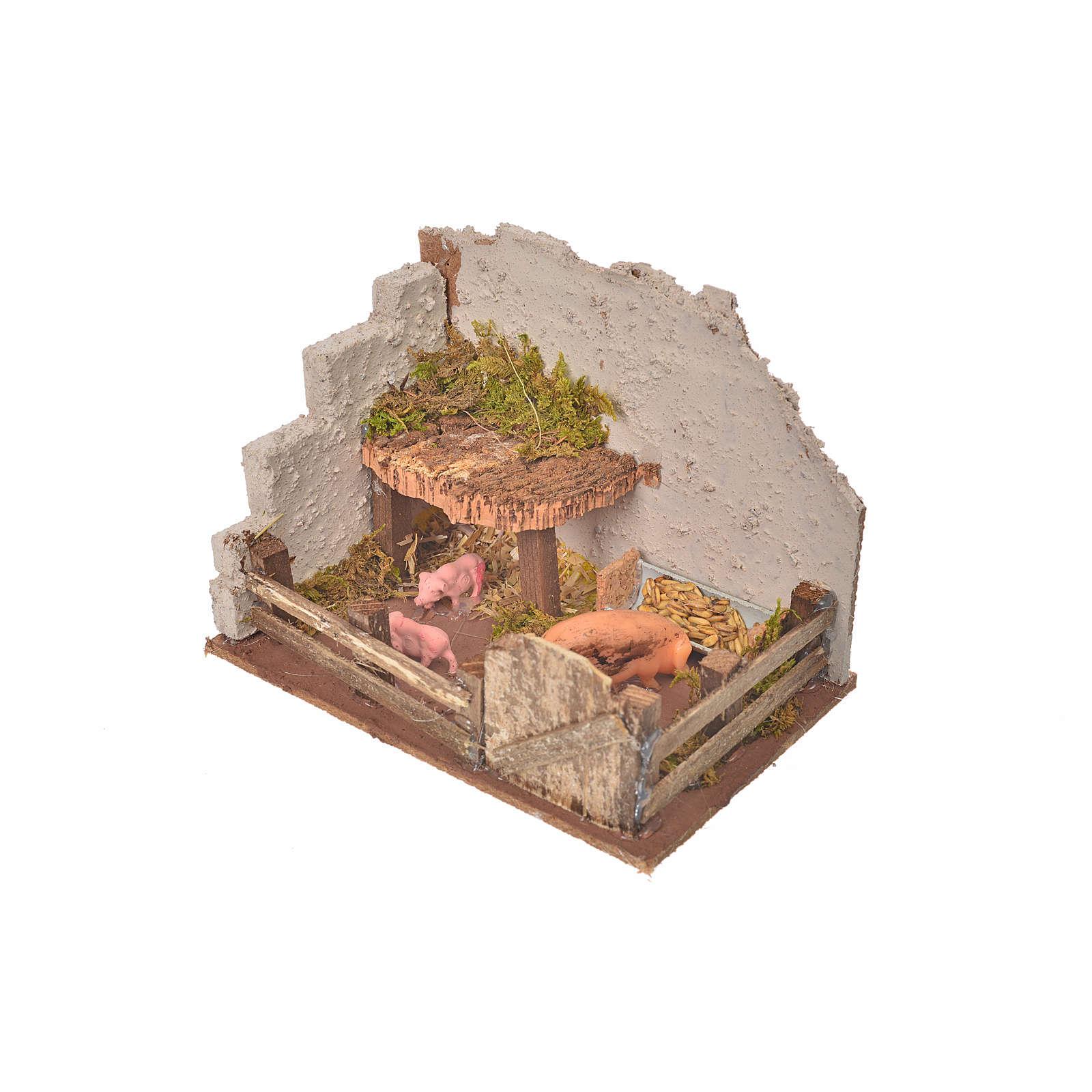 Nativity setting, pig corral 11x15x10cm 4