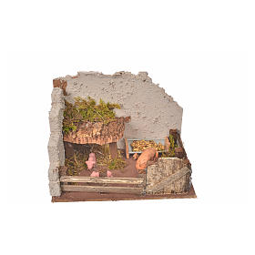 Nativity setting, pig corral 11x15x10cm s4