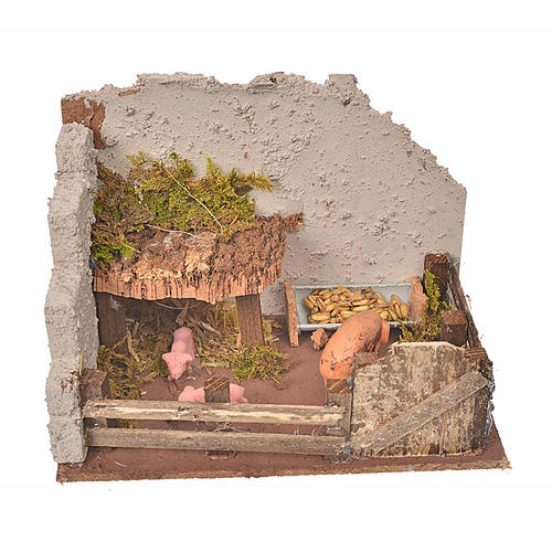 Nativity setting, pig corral 11x15x10cm 1