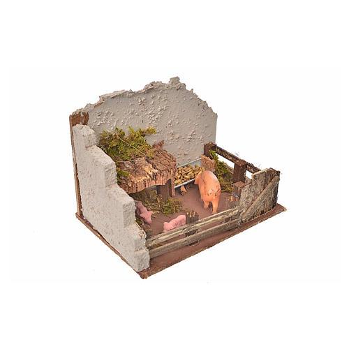 Nativity setting, pig corral 11x15x10cm 3