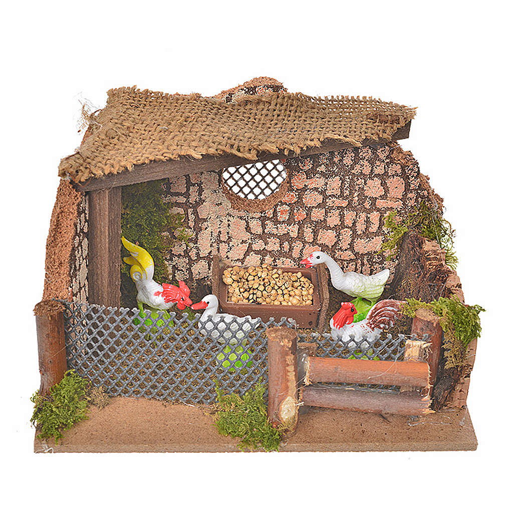 Nativity setting, fence with hens and cock 11x15x10cm 4