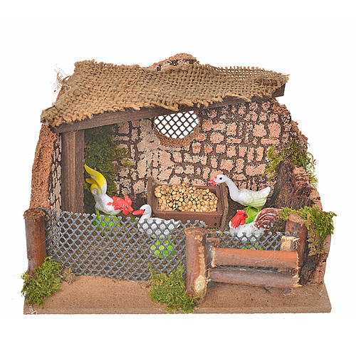 Nativity setting, fence with hens and cock 11x15x10cm 1