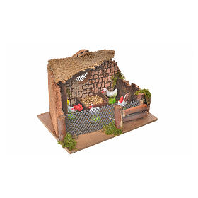 Nativity setting, fence with hens and cock 11x15x10cm s5