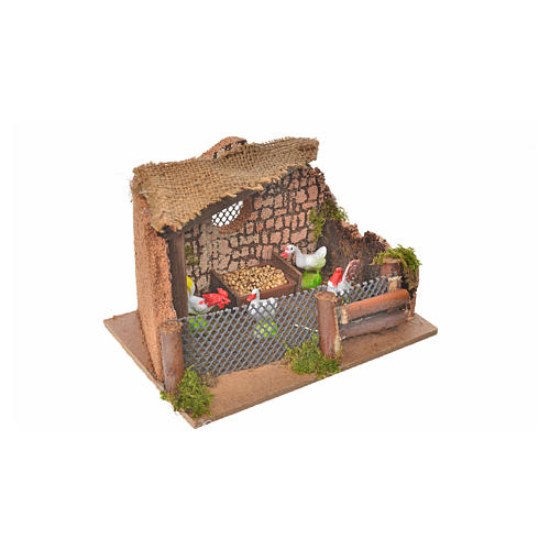 Nativity setting, fence with hens and cock 11x15x10cm 5
