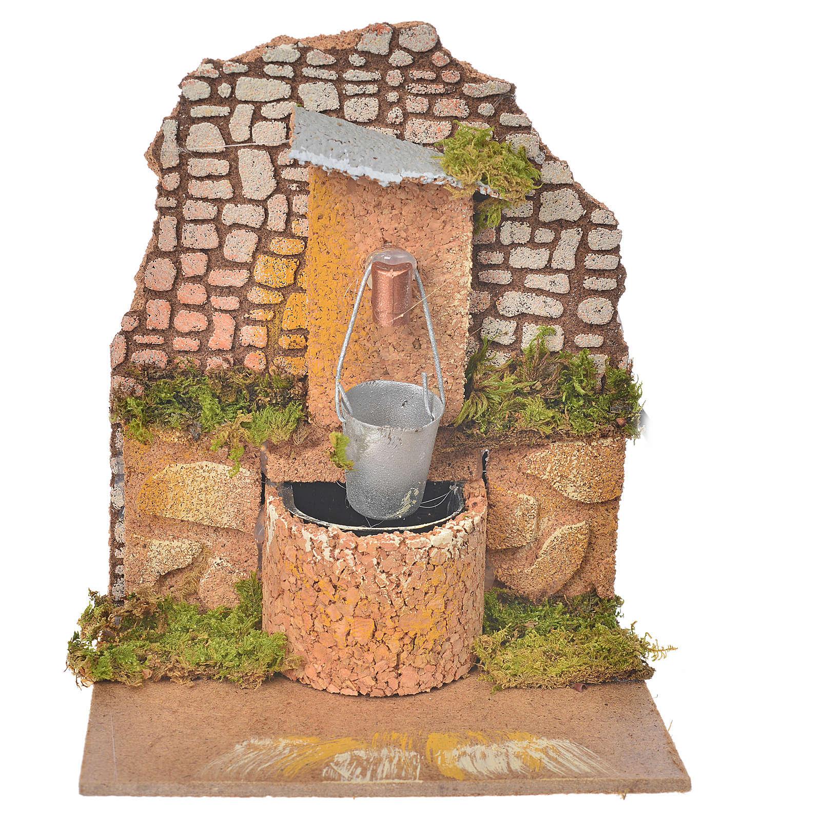 Fontana con pompa e secchio 14x12x14 cm presepe 4