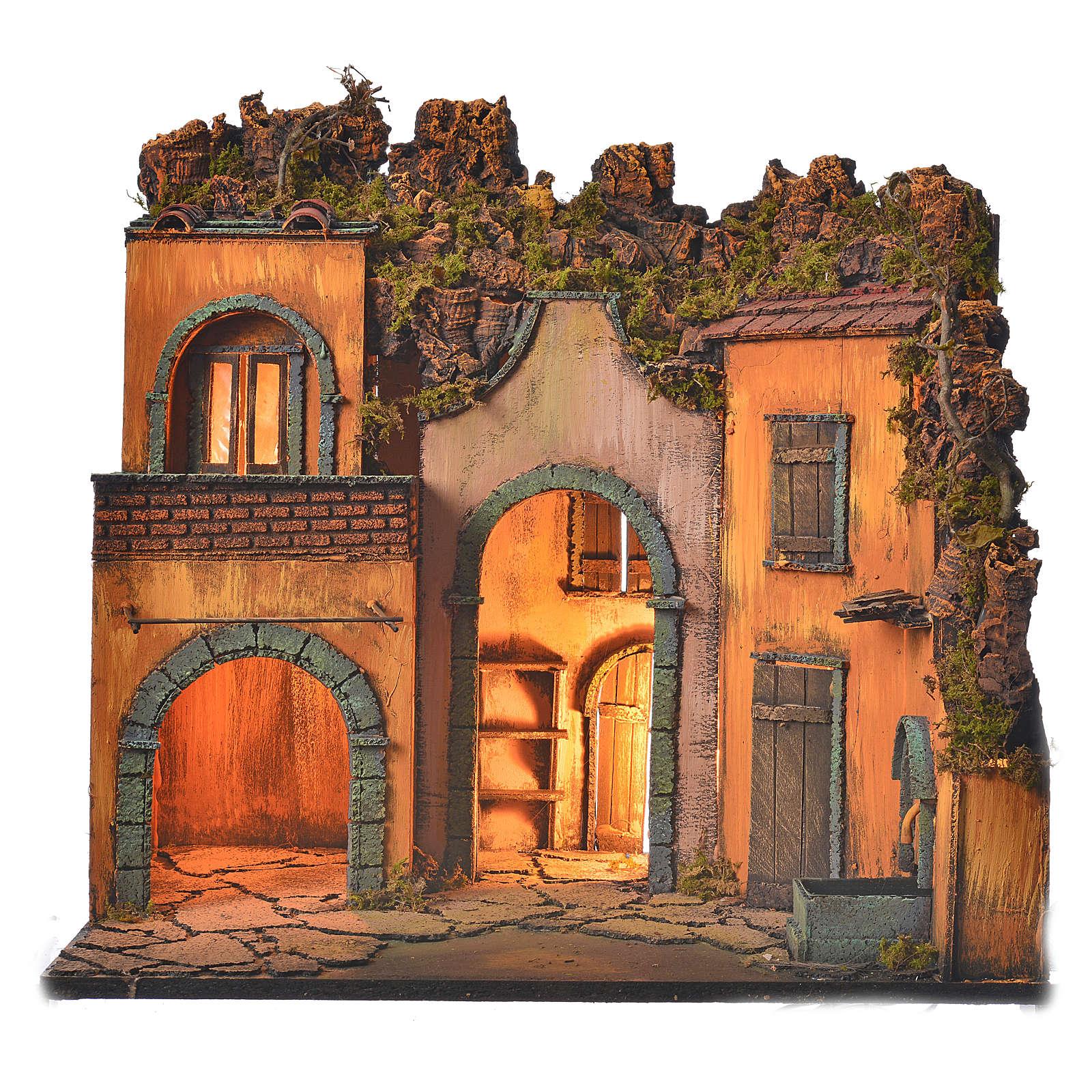 Bourg en miniature crèche Napolitaine style classique arcade 4