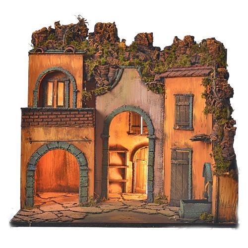 Bourg en miniature crèche Napolitaine style classique arcade 1