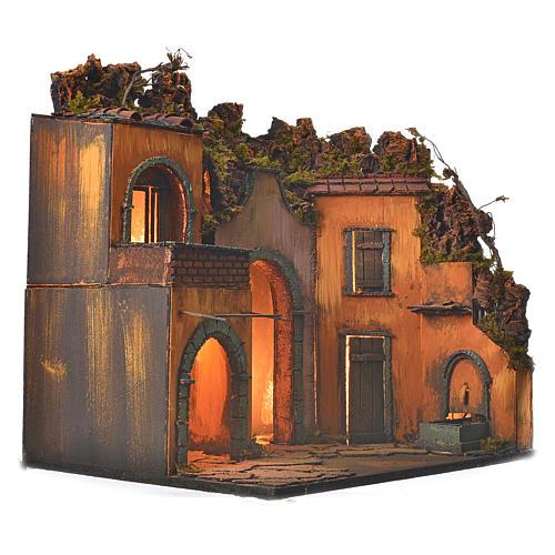 Bourg en miniature crèche Napolitaine style classique arcade 2