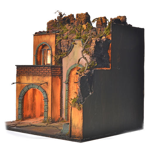 Bourg en miniature crèche Napolitaine style classique arcade 3
